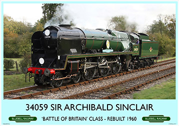 Heritage Rail Poster - 34059 Sir Archibald Sinclair - Bluebell Railway