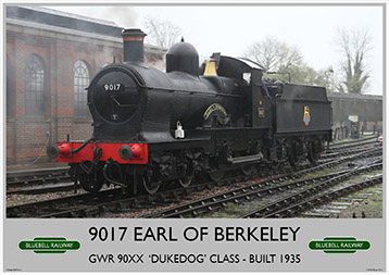 Heritage Rail Poster - 9017 Earl of Berkeley - Bluebell Railway