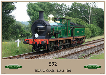 Heritage Rail Poster - 592 'C' Class - Bluebell Railway