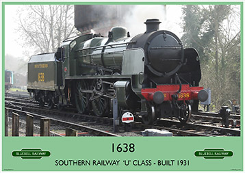Heritage Rail Poster - 1638 'U' Class - Bluebell Railway