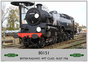 Heritage Rail Poster - 80151 '4MT' Class - Bluebell Railway