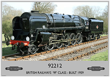 Heritage Rail Poster - 92212 '9F' Class - Bluebell Railway